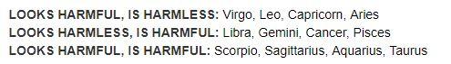 harmful zodiac